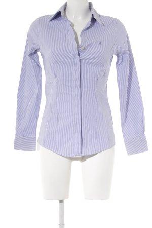 Hemd-Bluse stahlblau-weiß Streifenmuster Elegant
