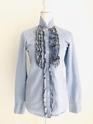 Hemd Bluse von Aglini, hellblau mit Details, Gr. 42 IT/ 36 DE