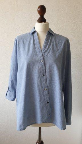 Esprit Blusa de manga larga azul claro-blanco Algodón