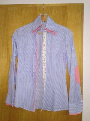 Blusa de cuello alto rosa-azul celeste