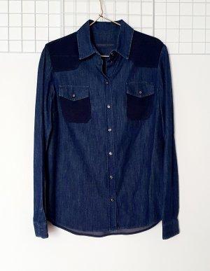 Trussardi Jeans Blouse en jean bleu-bleu foncé coton