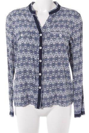 Hemd-Bluse weiß-dunkelblau Casual-Look