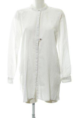 Hemd-Bluse weiß-hellbraun klassischer Stil