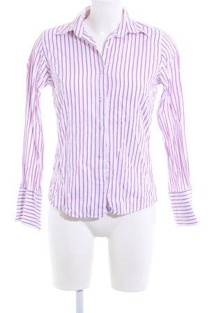 Hemd-Bluse weiß-lila Streifenmuster Business-Look