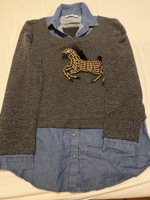 SGY - sheggy Jeansowa koszula czarny-stalowy niebieski