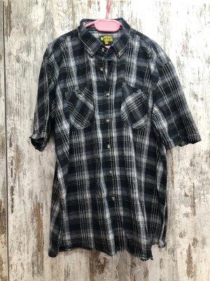 Chemise à manches courtes noir-bleu foncé