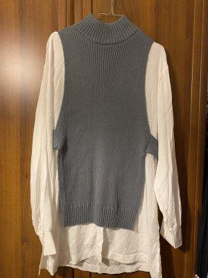 Zara Shirt met lange mouwen wit-khaki