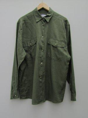 Hemd grün kaki Otto Kern Gr. 4 / M Leinenhemd