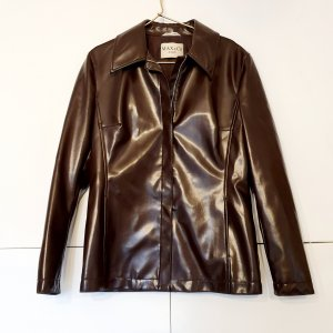 Max & Co. Leather Shirt dark brown-black brown imitation leather