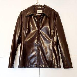Max & Co. Skórzana koszula ciemnobrązowy-czarno-brązowy Imitacja skóra
