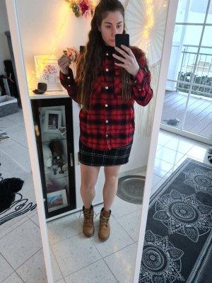 Hemd karo rot schwarz hoodie holzfällerhemd M L