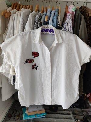 Hemd kastiger Schnitt Boxy Bluse Patches Mango