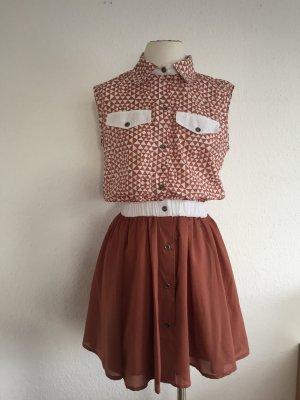 Shirtwaist dress light brown-natural white cotton