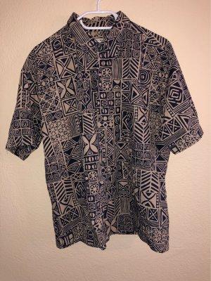 Camicia hawaiana beige-blu scuro