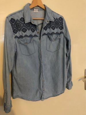 H&M Jeansowa koszula chabrowy-stalowy niebieski