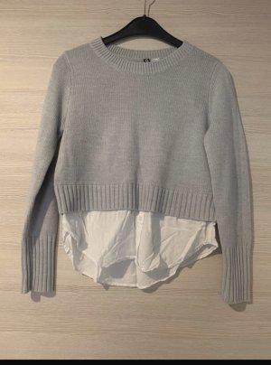 H&M Ensemble pull deux pièces gris clair-blanc