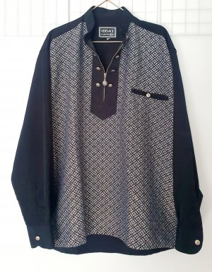 Versace Shirt Blouse black-silver-colored