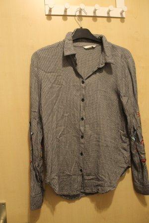 H&M Chemise à manches longues noir-blanc tissu mixte