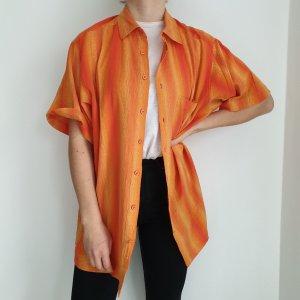 Hemd True vintage 43 44 Bluse oversize streifen rot orange top Shirt