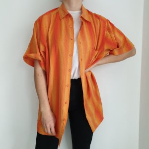 Hemd True vintage 43 44 Bluse oversize streifen rot orange top Shirt