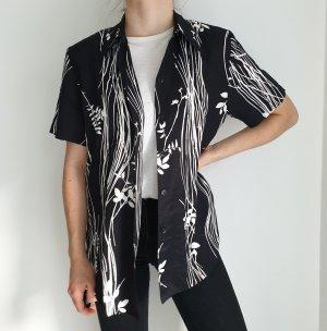 Hemd True vintage M 40 Bluse oversize blumen schwarz weiß jacke mantel trenchcoat strickjacke cardigan pulli pullover