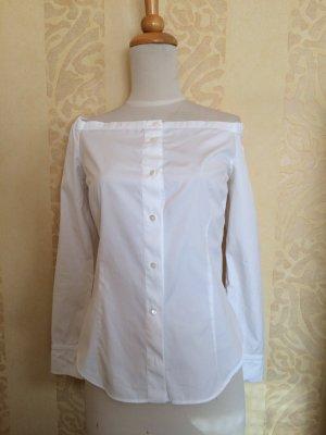Hemd, weiss, Carmenausschnit,100%Baumwolle, Gr.36/38