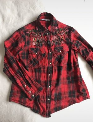 Zara Hunting Shirt black-dark red