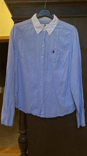 Arqueonautas Blouse en jean blanc-bleu azur coton