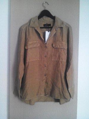 Zara Woman Camicia a maniche lunghe sabbia Lino