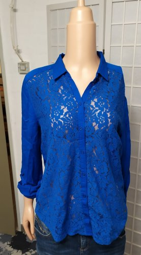 Hemdbluse Bluse mit Spitze Royalblau Viskose Hollister M
