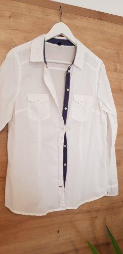 H&M Long Sleeve Shirt white-steel blue cotton