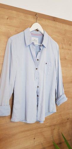 H&M Long Sleeve Shirt azure-dark blue cotton