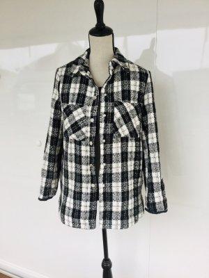 Hemdbluse Hemd Bluse hemdjacke Jacke Zara Basic schwarz weiß Blogger xs