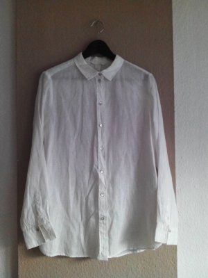 Hemdbluse in gebrochenem weiß aus 100% Leinen, Größe 38, neu
