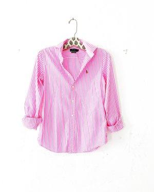Ralph Lauren Blouse-chemisier rose-blanc