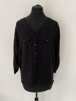 Hemdbluse schwarz mit Cut-Outs