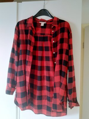 Hemdbluse schwarz-rot kariert
