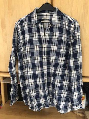 Barbour Shirt Blouse blue-natural white cotton