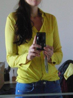 Hemdbluse von Mango - Gr. S - gelb - tolle Farbe - WIE NEU