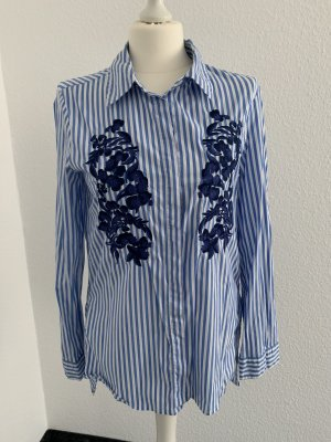 Hemdbluse Weiß /Blau gestreift -Neuwertig