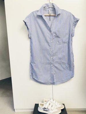 Zara Abito blusa camicia bianco-azzurro