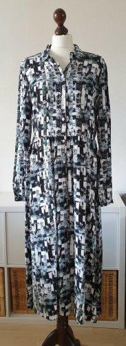 Hemdblusen-Kleid von QS by s.Oliver * Gr. 40 * Midi * schwarz-weiß-türkis-rosa * Neu