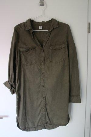 H&M Abito blusa camicia verde oliva-cachi