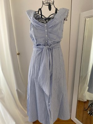 Zara Robe chemise blanc-bleu azur