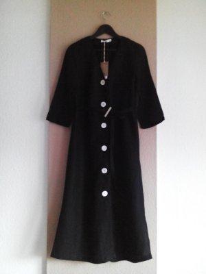 Hemdblusenkleid aus 50% Leinen, 50% Viskose in schwarz, Größe M, neu
