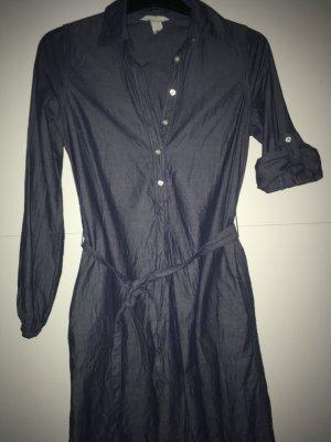 H&M L.O.G.G. Robe chemise bleu acier coton