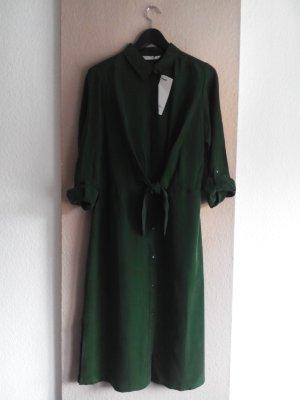 Hemdblusenkleid mit Schleifendetail, 100% Cupro in Forest green, Größe 36 neu