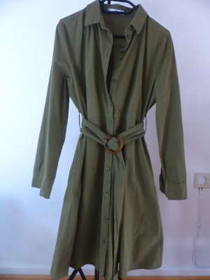 Mango Robe chemise vert olive coton
