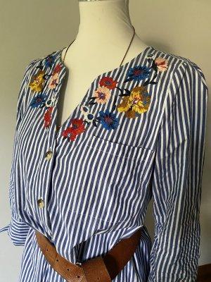 Set Vestido tipo blusón blanco-azul acero