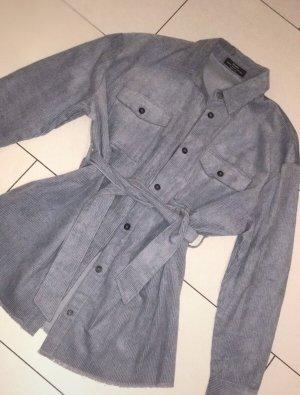 Bershka Kopertowa kurtka błękitny-stalowy niebieski
